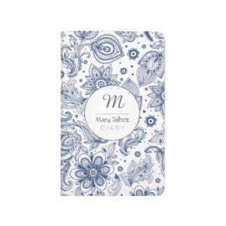 Journal floral vintage bleu de monogramme de motif