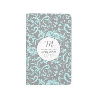 Journal floral vintage de monogramme de motif de