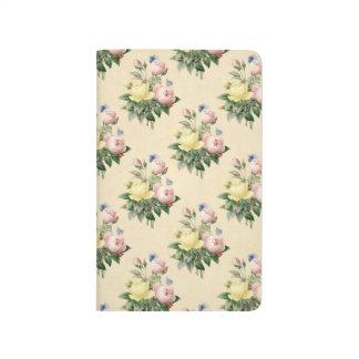 Journal rose de motif de fleur de cru floral