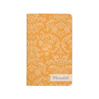 Journal vintage élégant de poche de damassé