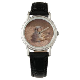 Jours paresseux de Meerkat, montre en cuir noire