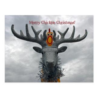 Joyeuse carte postale fraîche de Noël de poulet !