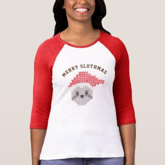 Joyeuse douille du raglan 3/4 de Slothmas de T-shirt