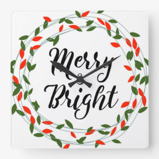 Joyeuse et lumineuse - Noël - horloge murale