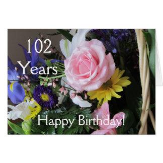 Joyeux 102nd anniversaire ! Bouquet de rose de Carte