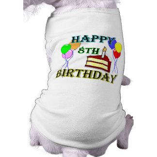Joyeux 8ème anniversaire avec le gâteau, les ballo manteaux pour chien