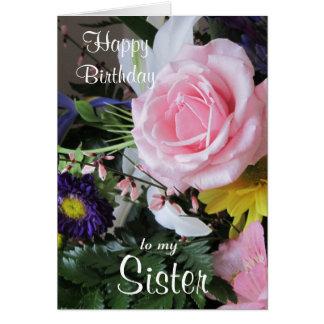 Joyeux anniversaire à mon bouquet rose Soeur-Rose Carte