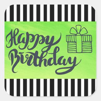 Joyeux anniversaire autocollants de vert de chaux