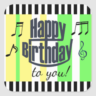 Joyeux anniversaire autocollants rayés de vert de