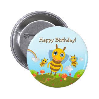 Joyeux anniversaire avec des abeilles de miel badge rond 5 cm