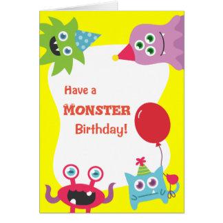 Joyeux anniversaire de petit monstre coloré mignon carte
