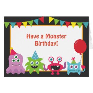 Joyeux anniversaire de petit monstre mignon carte de vœux