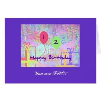 Joyeux anniversaire d'enfant deux années carte
