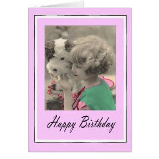 joyeux anniversaire - enfant vintage carte de vœux