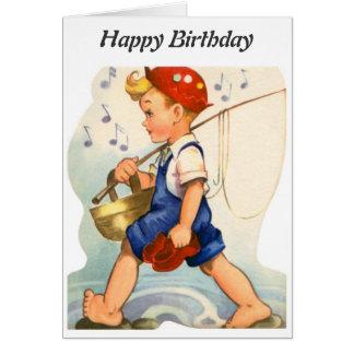Joyeux anniversaire - jeune pêcheur carte de vœux