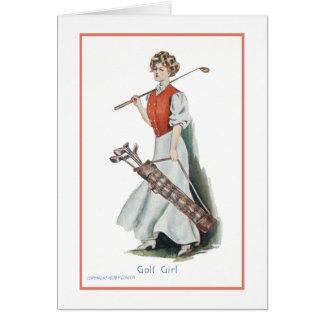 Joyeux anniversaire pour un golfeur de femme carte de correspondance