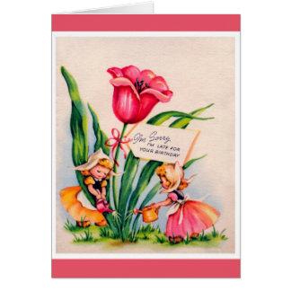 Joyeux anniversaire tardif - enfant carte de vœux