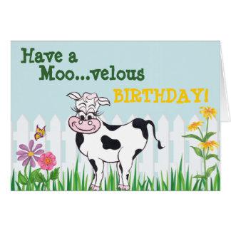 Joyeux anniversaire - vache et carte de