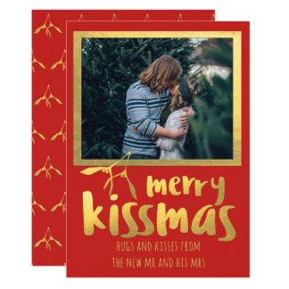 Joyeux carte photo de vacances de Kissmas d'or Carton D'invitation 12,7 Cm X 17,78 Cm