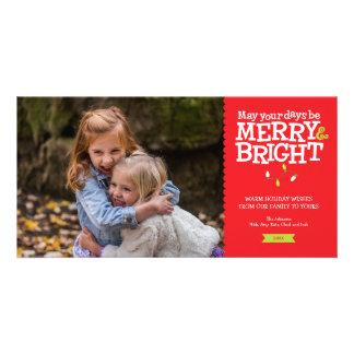 Joyeux et lumineux carte photo de lumières de Noël Carte
