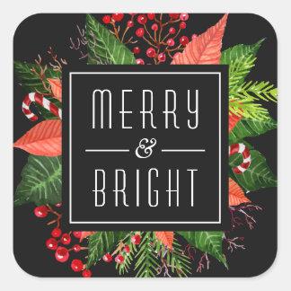 Joyeux et lumineux Noël heureux de vacances Sticker Carré