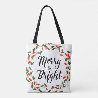 Joyeux et lumineux - Noël - sac fourre - tout