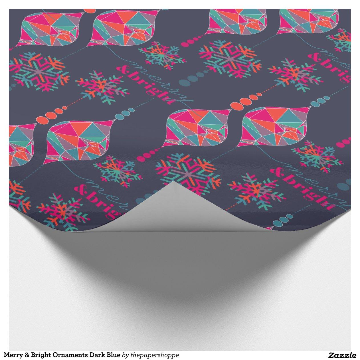 Joyeux et lumineux ornements bleu fonc papiers cadeaux - Papier cadeau personnalise ...
