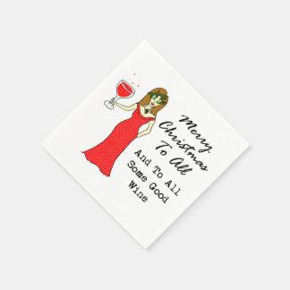 Joyeux Noël à tous et à du tout bon vin Serviette Jetable