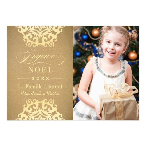 Joyeux Noël Carte-Photo | Papier Kraft et Or Faire-parts