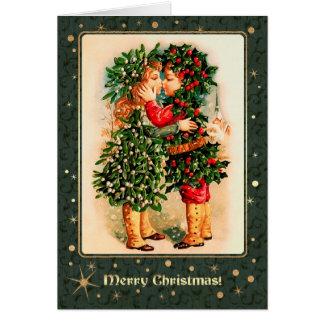 Joyeux Noël. Cartes de baiser d'enfants de cru