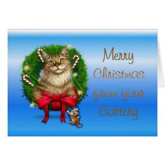 Joyeux Noël de pension pour chats Carte De Vœux