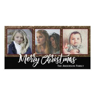 Joyeux Noël de trois photos Photocartes Personnalisées