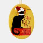 Joyeux Noël Du Chat Noir Ornement Ovale En Céramique