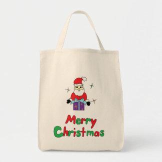 Joyeux Noël du père noël Sac En Toile Épicerie