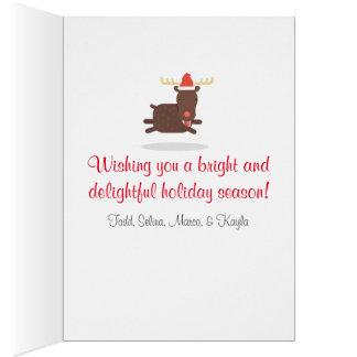 Joyeux Noël gros Père Noël et vacances de renne Carte