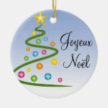 Joyeux Noël Ornement Rond En Céramique