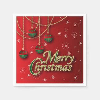 Joyeux Noël rouge lumineux Serviette En Papier