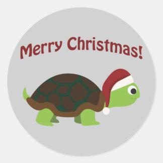 Joyeux Noël ! Tortue de Père Noël Sticker Rond