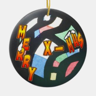 Joyeux ornement de cercle de motif de Noël