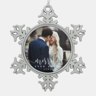 Joyeux pour toujours photo l'épousant de | ornement flocon de neige pewter