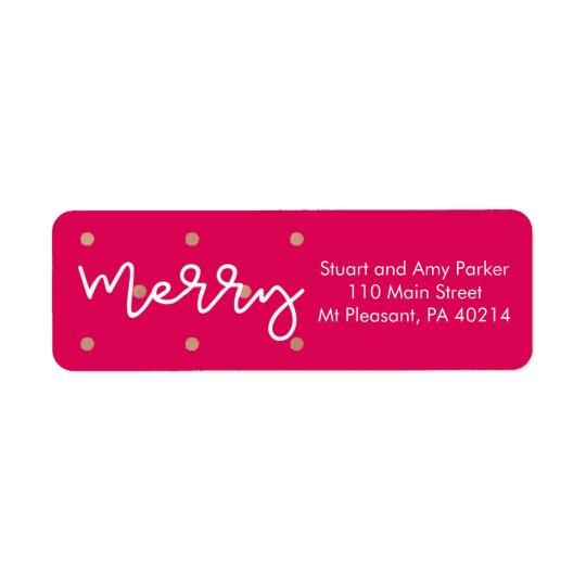 Joyeux rose avec des points de regard d'or étiquettes d'adresse retour