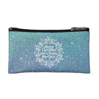 Joyeux sac cosmétique scintillant de Noël |