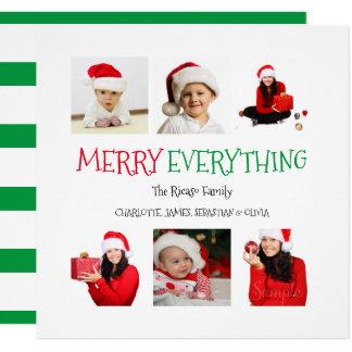 Joyeux tout Noël vert de 6 modèles photo Carton D'invitation 13,33 Cm