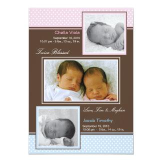 Jumeaux garçon et faire-part de naissance de fille
