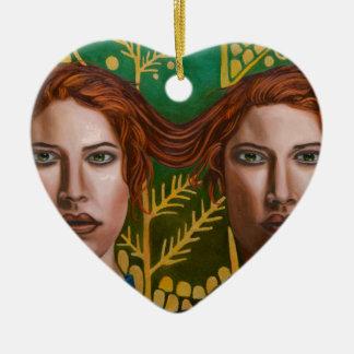 Jumeaux siamois 5 ornement cœur en céramique