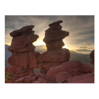 Jumeaux siamois au coucher du soleil carte postale