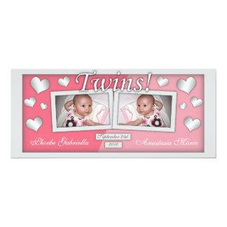Jumelle des annonces de naissance de filles de ~ carton d'invitation  10,16 cm x 23,49 cm