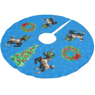 """jupe d'arbre """"de Noël à 8 bits"""" (bleu lumineux) Jupon De Sapin En Polyester Brossé"""