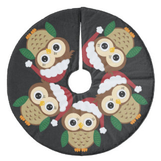 Jupon De Sapin En Molleton Hibou adorable de Noël
