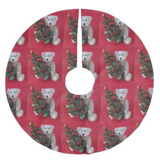 Jupon De Sapin En Polyester Brossé Arbre de Noël avec l'ours de nounours